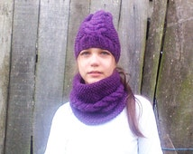 Matching Knit Set, Hat and Cowl Scarf, Cable Knitted, Gift for Her, Purple Color, Women Size, Winter Clothing, Popular Etsy  item, Teen Knit