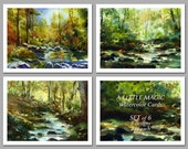 "Spring Landscapes - Set of 6 NOTE CARDS - ""A Little Magic"" - Watercolor Paintings by Linda Henry (NCWC058)"