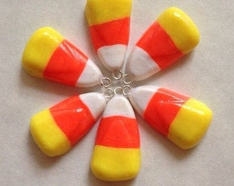 Candy corn polymer clay charm