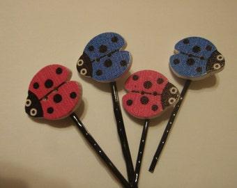 Ladybug button bobby pins