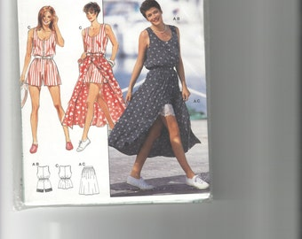 Pattern: Easy sew Misses sleeveless jumpsuit and skirt. Multi-size pattern 6-18. Eur 32-44.  FREE US SHIPPING!