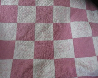 """Vintage Antique Handmade Pink and White Embroidery Quilt Dated 1928 66""""x86"""""""