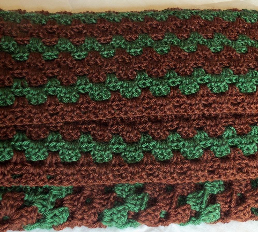 crochet blanket afghan 43 x 52 brown green. Black Bedroom Furniture Sets. Home Design Ideas