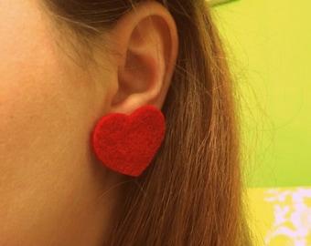 Red Felt Heart Earrings - Valentine's Day