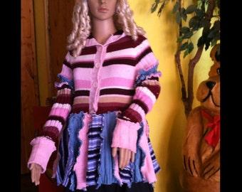 Fairy coat / fairy jacket / Upcycled sweater jacket with pixie hood / pink  Pixie jacket/ blue pixie coat