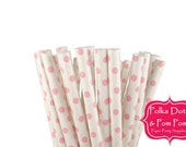 25 WHITE and PINK Swiss Polka Dot Paper Drinking Straws / Birthday Party Decoration Ideas and Supplies / Wedding / Baby Shower