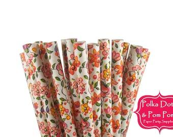 Birthday Party Decoration Ideas / 25 Orange FLORAL Paper Drinking Straws / Flower / Wedding / Garden Party