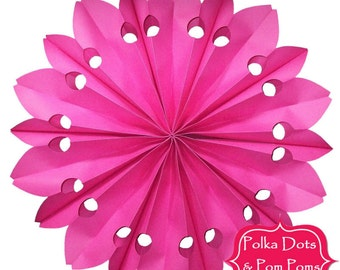 52cm Hot Pink PAPER ROSETTE / Fan / Hanging Decoration / Retro Kids Party Supplies / Wedding / Baby Shower