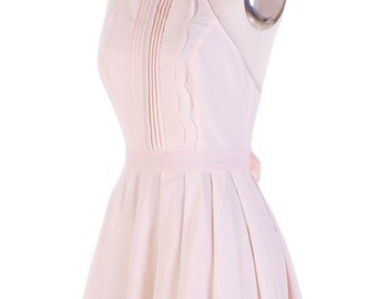 Pink Pleated Scallop Backless 1950's Inspired Dress Adorn with Bow