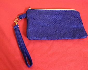 Blue sequin wristlet/clutch