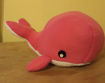 Solid pink fleece stuffed whale/nursery decor