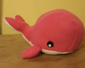 Solid pink fleece stuffed whale/nursery decor
