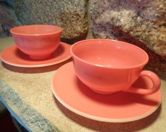 Cups & Saucers Mid-Century Anchor Hocking Beautiful Pastel Pink