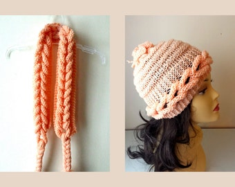 Hand Knitted Children Set  - hat and scarf , cable knit hat, cable knit scarf in salmon, peach color for children, photo prop