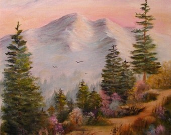 Painting of spring Colorado landscape - Mountain Path