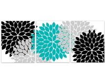 Home Decor Wall Art, Aqua Grey and Black Flower Burst Art, Bathroom Wall Decor, Tel Bedroom Decor, Nursery Wall Art - HOME98