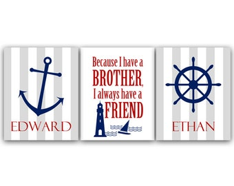 Boys Nautical CANVAS Room Decor, Brothers Wall Art, Brothers Quote, Personalized Kids Wall Art, Kids Name Art, Twin Boys Wall Art - KIDS78