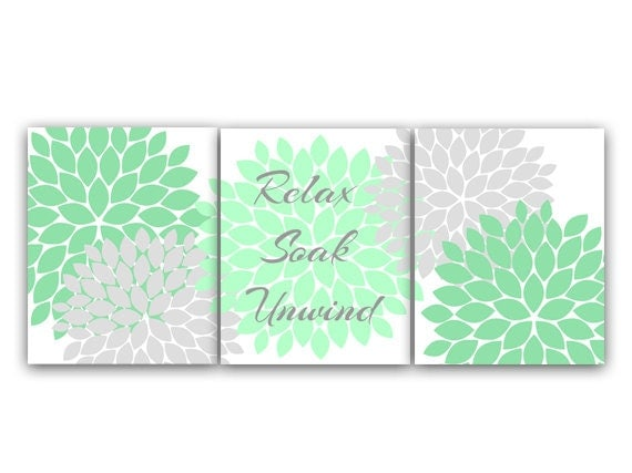 Bathroom canvas wall art relax soak unwind mint green and for Green and grey bathroom accessories
