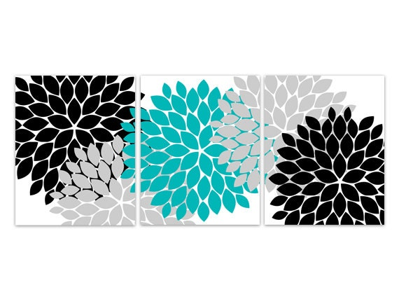 home decor wall art aqua grey and black flower burst canvas