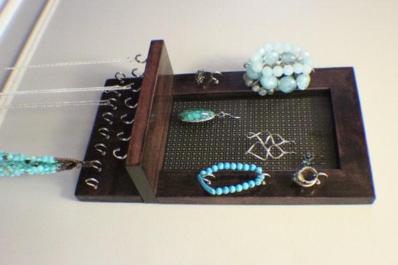 stained wall mounted jewelry organizer wall by theknottyshelf