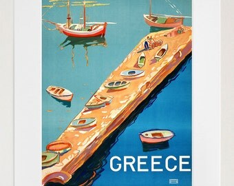 Travel Art Greece Print Poster Greek Vintage Home Decor (XR80)