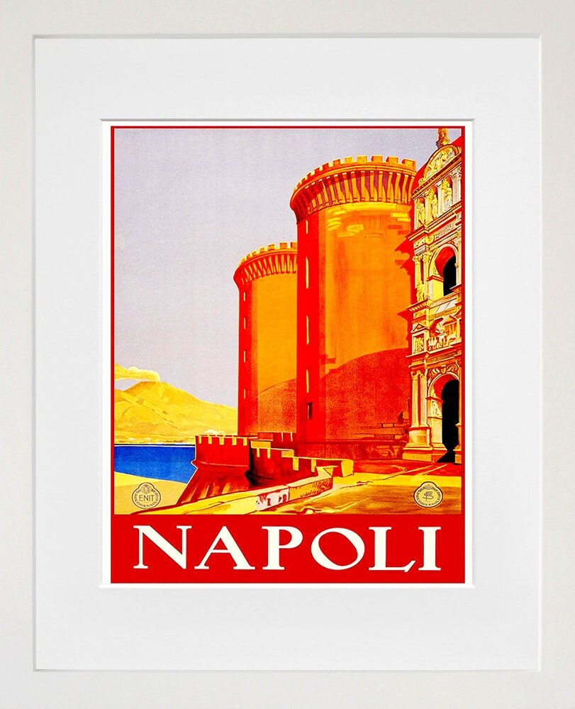 Napoli italy travel poster home decor italian wall art print for Italian decorations for home