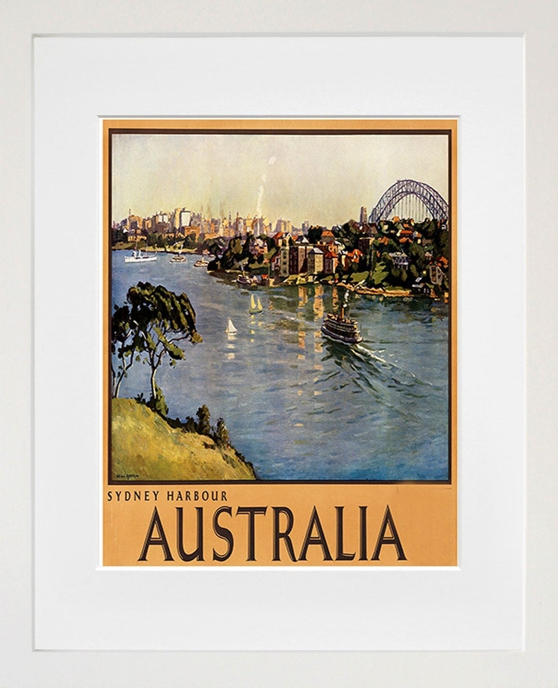 Australia art vintage travel poster print home wall decor Home decor wall decor australia