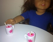 """American Girl doll drinks Valentines day strawberry milkshakes w/ whipped cream, cherry & straw fits into mugs for AG or 18"""" dolls"""