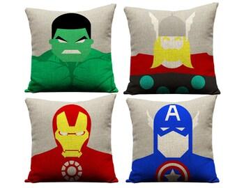 Set of 4 avengers pillowcases, thor, captain america, hulk, ironman, geek, avengers, superhero, birthday, gifts,  throw pillows, birthday
