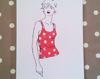 Quirky illustrated blank greeting cards - Hand drawn figure in colourful fashion top - Individual cards for sale here!