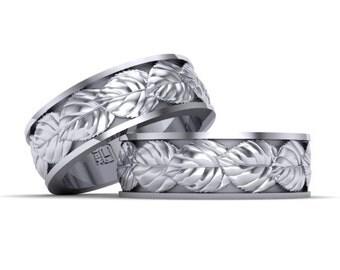 mens wedding band white gold 14k 585
