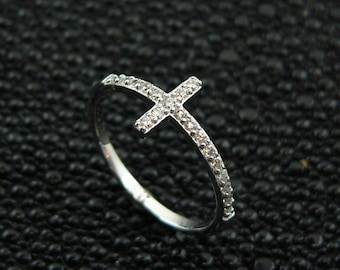 Free shipping ,Ladies, cross,design, 925, sterling,silver,cz,ring,plus, jewelry,gift ,box.,
