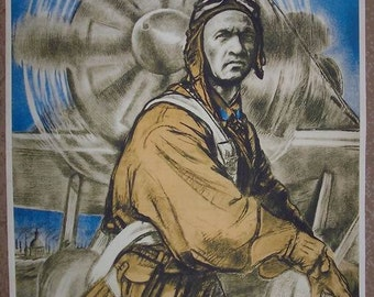 "WW2 URSS pilots ""Glorious falcons of Lenin city"" poster"