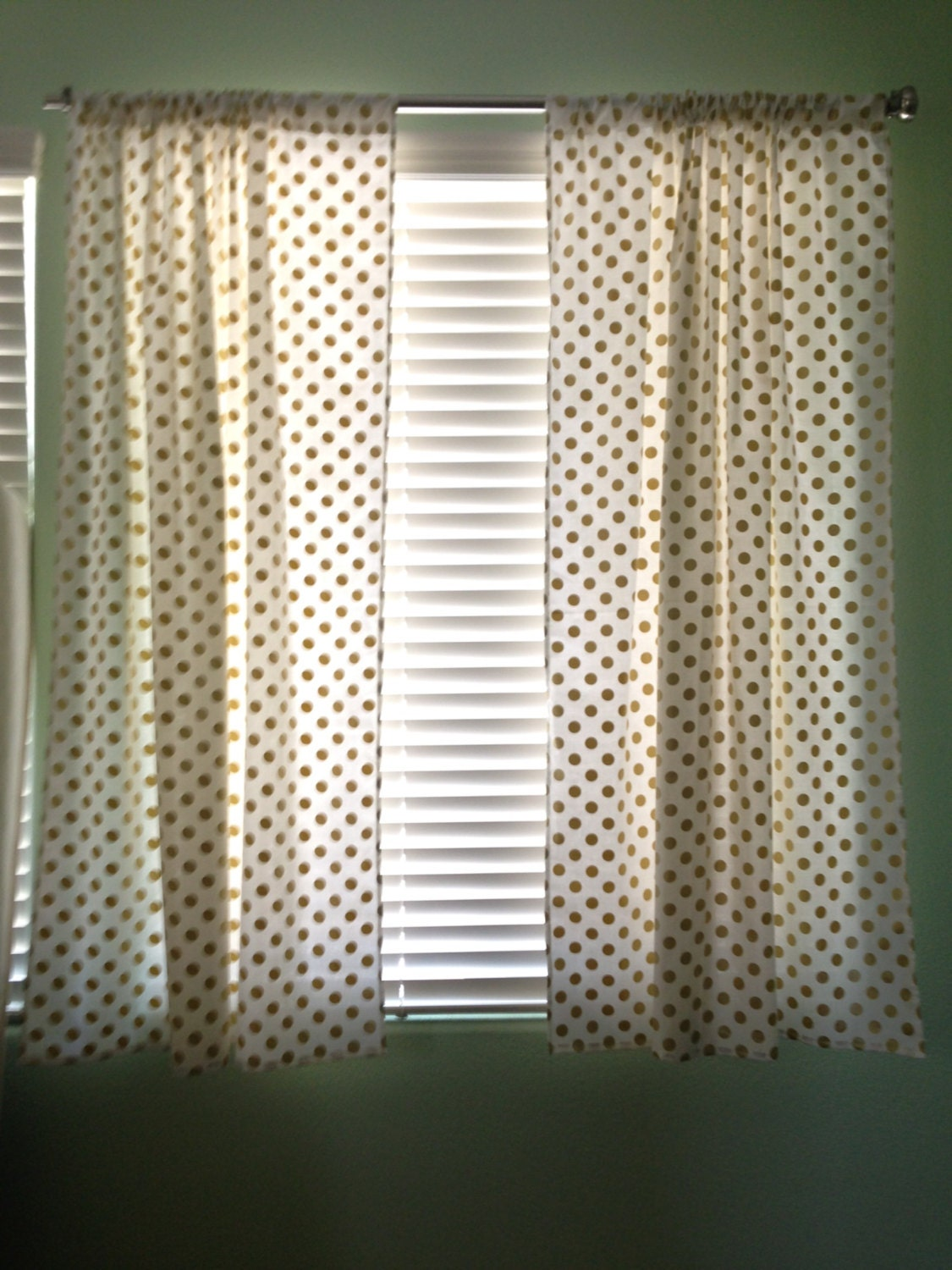 White with Gold Dots Curtains Panels by LullabiesLollipops