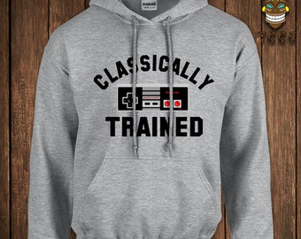 Funny Video Game Hoodie Geek Arcade Hooded Sweater Gamer NES Controller Classically Trained Hoodie Retro Old School College Humor Nerd