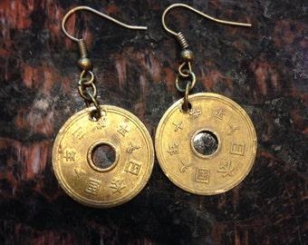 Japan 5 Yen Coin Earrings