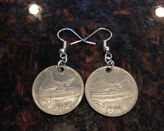 India 50 paise coin earrings.