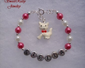Personalized Girls Bracelet - White Enamel Cat with Red Ribbon  - For Cats Lovers - Custome Design Available - w/ an Elegant Gift Box
