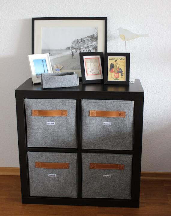 Light grey felt boxes fit into Ikea Expedit and Kallax Felt