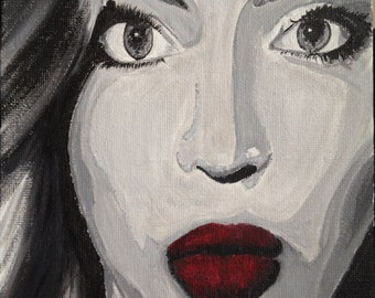 Black White Red painting of Beyonce, Beyonce Red lips, Black and white painting of Beyonce,Yonce