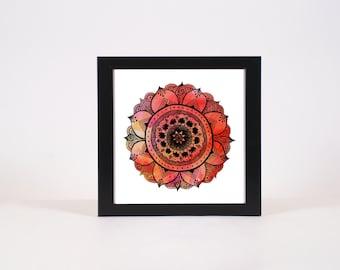 Hand Drawn Mandala Print | Bright Red Mandala Print | Aztec Mandala | Zentangle Mandala | Mandala Art | Mandala Decals | Mandala Design