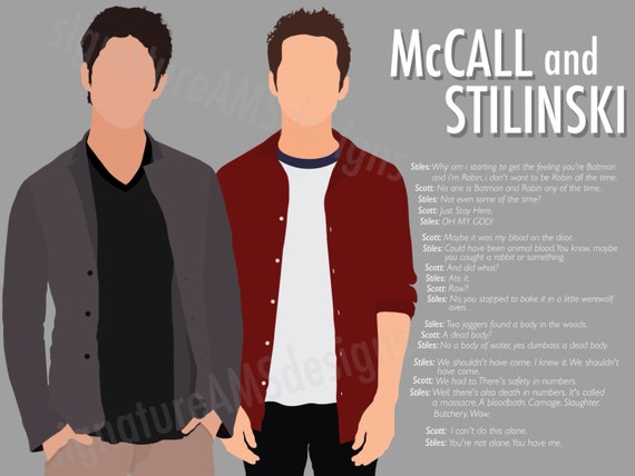 Minimalist Digital Artwork of TEEN WOLF CHARACTERs - Stiles Stilinski and Scott McCall. ( 11.7x16.5 inches / A3 )