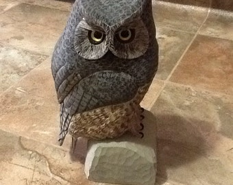 Hand Carved Owl (large)