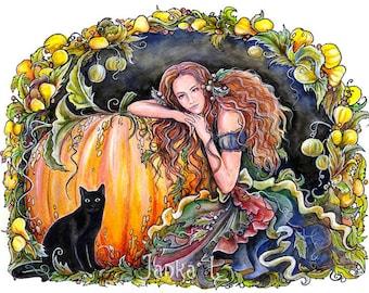 "Pumpkin fairy - 14,17 "" x 10,63""  Print, fantasy art, fairy, halloween, signed print"