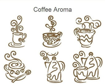 Coffee Aroma Drink Time Machine Embroidery Designs Instant Download 4x4 5x5 6x6 hoop 14 designs APE1659