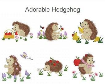 Adorable Hedgehog Cute Animals Machine Embroidery Designs Pack Instant Download 4x4 hoop 10 designs APE1390