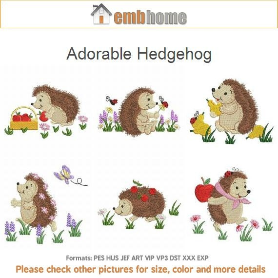 Adorable hedgehog cute animals machine embroidery designs pack