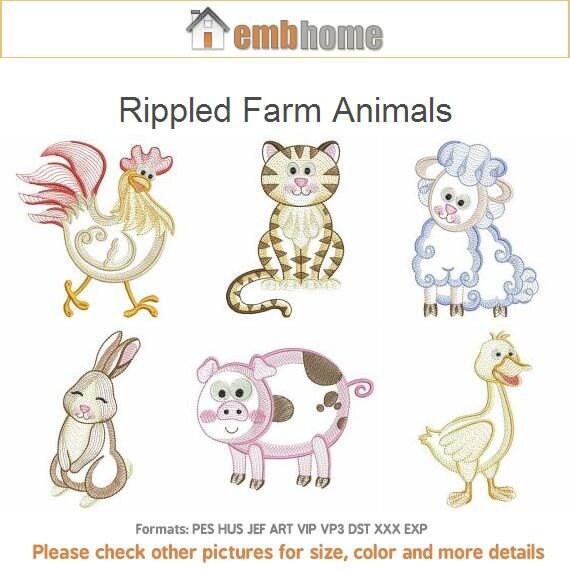 Rippled farm animals machine embroidery designs instant