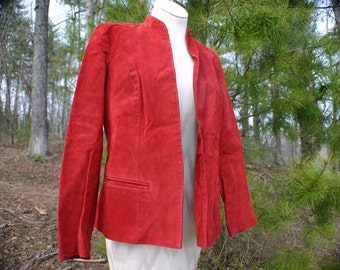 1970's Red Suede Leather Buttonless Blazer.  Women's Size 10.  Preppy Blazer.  Rockabilly Style. Hipster Leather Coat.