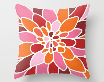 Dahlia Flower Pillow Cover - Modern Home Decor - includes insert - Orange Red Pink